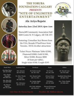 Yoruba Foundation Calgary: Nite of Unlimited Entertainment 2019 @ Thorncliffe-Greenview Community Hous