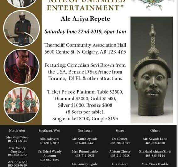 The Yoruba Foundation, Calgary – Gala Nite Celebration/Yoruba Day 2020