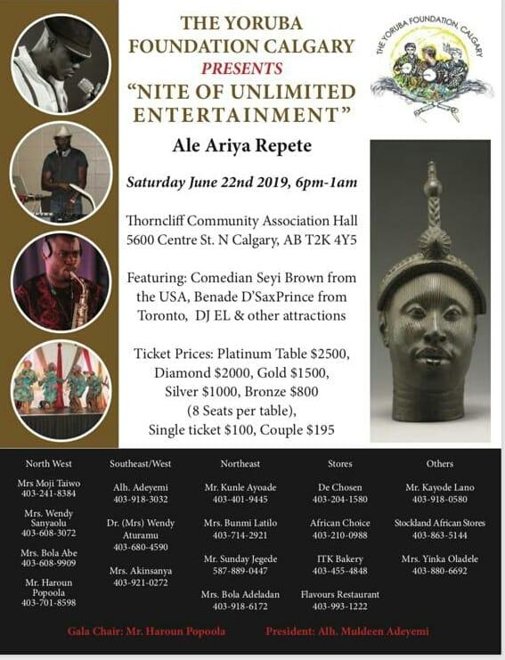Yoruba Foundation Calgary Nite Of Unlimited Entertainment